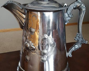 Antique Victorian Double Wall Silverplate Water Pitcher by Meriden Britania 1856 Repousse