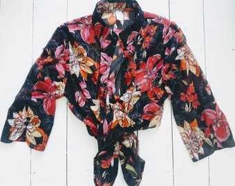 vintage sheer fabric sparkly floral blouse