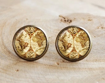 Antique World Map Stud Earring, world map earring, antique map jewelry,Antique Map Stud Earrings