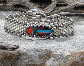 Free Form Peyote Stitch Beaded Skinny Bracelet  - Bead Weaving  -  Gemstone Inlay Vintage Mosaic Southwest Cabochon  - Silver Galvanized