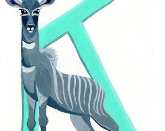 Alphabet Letter K Kudu Digital Printable Download Wall Art Kids Room Monogram