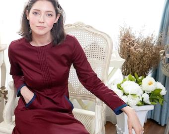 Woman Dress -Burgundy dress with ruffles (woman)