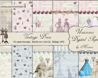ABITI VINTAGE, Paper Dress Patterns, Vintage Dresses, Fashion Illustration, Digital Paper, 1950s dresses, Scrapbook kit, Abiti stile vintage