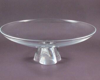 Vintage Steuben Crystal Glass Low Bowl with Pedestal Base Signed Art Glass Bowl