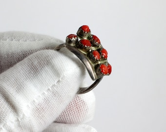 Old Native American Sterling Silver Coral Ring, Native American Coral Silver Ring, Southwest Silver Shadow Box Coral Ring,  Native American