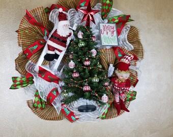 Santa Wreath, Santa Claus Wreath,  Holiday Wreath, Christmas Wreath, Holiday Decor,ChristmasDecor,Seasonal Decor, Wall Decor,  Front Door
