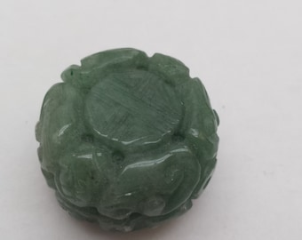 Serpentine Stone Flat Carved round 30mm drilled  X 20M THICK side to side