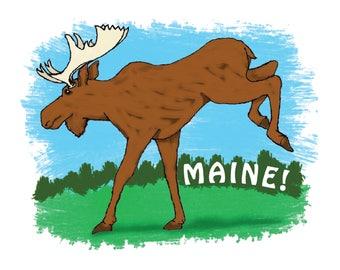 Merry Maine Moose Art Print