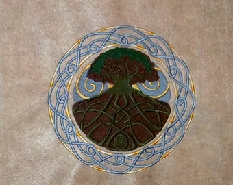Celtic Tree of Life (embroidered wall art)