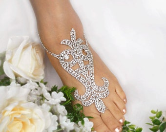 Wedding Barefoot Sandals, Rhinestone  Foot Jewelry,Silver Foot Jewelry, Beach Wedding Barefoot Sandals, Footless Sandals-SD010