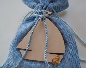 Blue fabric pouch with wooden boat - party favor, baptism favor/bomboniere