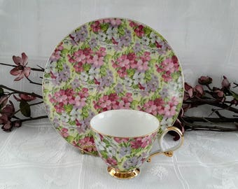 Shafford Chintz Porcelain Snack Set, Japan 1940's