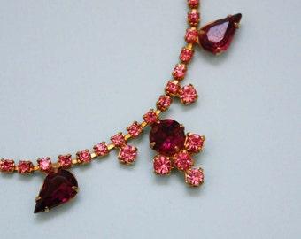 Rhinestone Costume Jewelry Necklace in Pink and Fuchsia
