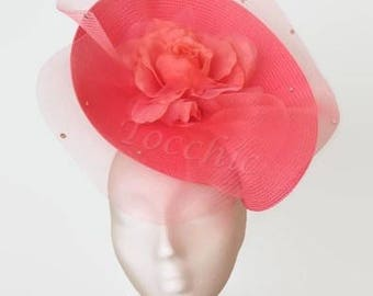 Coral wedding hat, Kentucky derby hat, coral fascinator hat, Coral Ascot hat with veil,  womens hats, pink derby hat, salmon races hat veil
