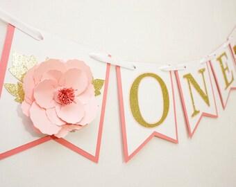 High chair banner, 3d flower, pop up flower, floral birthday banner, first birthday banner, flower banner, babys first birthday glitter bann