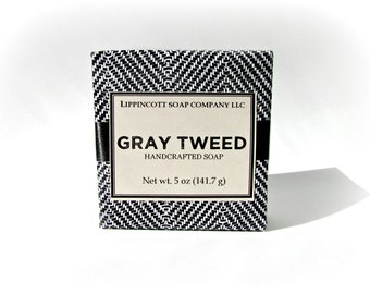 Gray Tweed Soap, Mens Soap, Cold Process Soap, Bar Soap, Palm Oil Free Soap, Verbena, Bergamont, Lemon, Sandalwood, Father's Day Gift
