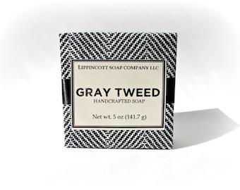 Gray Tweed Soap, Mens Soap, Cold Process Soap, Bar Soap, Palm Oil Free Soap, Verbena, Bergamont, Lemon, Sandalwood, Father's Day Gift