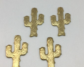 Set of 4 Cactus Raw Brass Filigree, Western, Southwestern Themed, Sal 8532