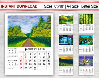 Fine Art Calendar 2018, USA Calendar, Printable Calendar, Monthly Calendar, Landscape Calendar, Watercolor Calendar, Illustrated Calendar