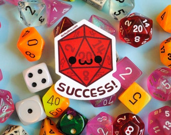 Smiling D20 Sticker: Critical Success Weatherproof Vinyl Stickers, Happy Dice Rolled a Crit, Natural 20 Dungeons and Dragons Tabletop Game
