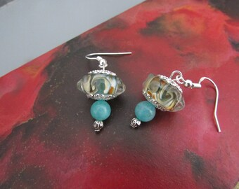 "Silver earrings embossed Lampwork Glass and amazonite ""Rialto"""