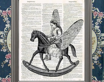 Alice Riding Rocking Horse-fly Wonderland Victorian home wall decor Lewis Carroll Vintage Dictionary Page Wall Art Print Upcycled Recycled