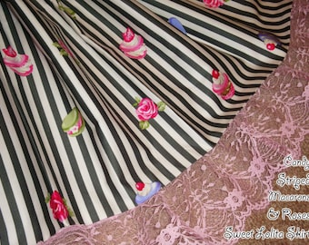 Candy Striped Macaron Cookies & Roses Sweet Lolita Skirt - Black - ANY SIZE