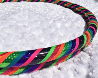 Shine On Dance & Exercise Hula Hoop COLLAPSIBLE Polypro, HDPE, beginner, advanced, or weighted - black purple rainbow neon pink green stars