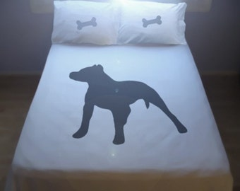 Dog Pitbull Bulldog Duvet Cover Set Bedding Comforter Pit bull terrier puppy doggy bone Twin Full Double Queen King Size custom