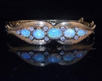 "Vintage Opals Diamonds 14k Yellow Gold Bangle Bracelet Estate Mid Century 6.5"" LAYAWAY AVAILABLE"