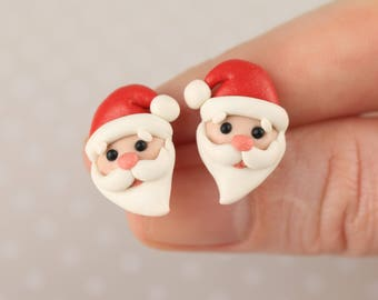 Christmas Earrings Santa Earrings Christmas hat red St Nicholas earrings Saint Nicholas miniature Xmas Jewelry Santa Claus earrings Gift