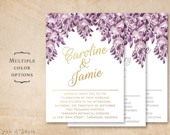 Purple Wisteria Flowers - Printable 5x7 Wedding or Birthday Invitation - Violet Gold Silver Vintage Victorian Floral Metallic Customized