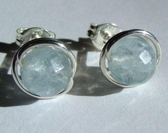 Aquamarine Earrings 6mm Faceted Aquamarine Stud Earrings Wire Wrapped in Sterling Silver Post Earrings Birthstone Earrings Studs