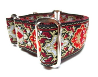 """Houndstown 1.5"""" Red Renni Unlined Martingale Collar Size Small Medium or Large"""