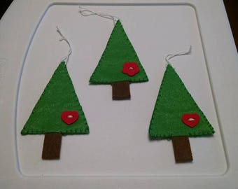 set of 3 handmade christmas tree ornaments