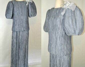 1980s Silvery Blue Fortuny Pleated 2 Piece Outfit by Pierre Labiche