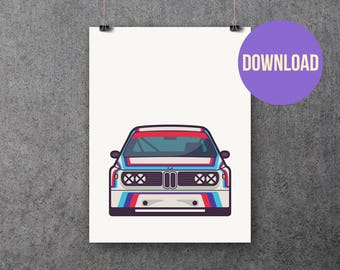Classic German E9 3.0 CSL Touring Car Poster Print Download