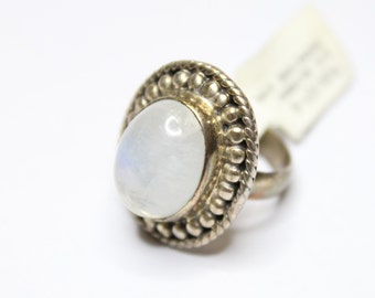 Rainbow Moonstone Ring Size 6 925 Sterling Silver