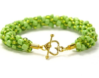 Lime Green Kumihimo Bracelet, Lime Green Beaded Bracelet, With Gold-Plated Clasp