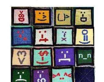 Crochet e Pattern, Smilie Afghan, 16 squares