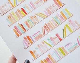 Bookshelves Art Print (Bookworm Gifts - Bookish Gift - Book Lover - Colorful Watercolor Art Print - Wall Art)