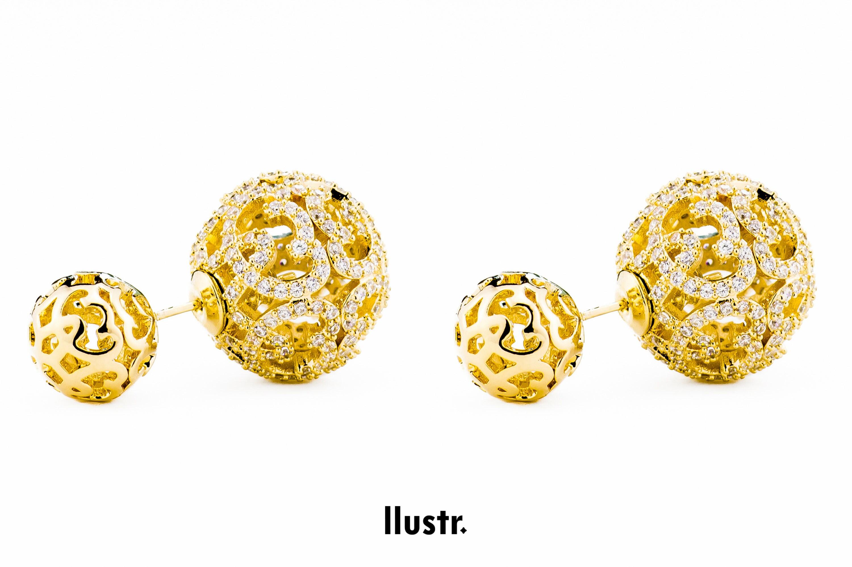 Monaco Gold Double Ball Earring/Double Sided Earring For