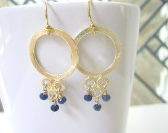 Brushed Gold Earrings, Gold Dangle Earrings, Wire Wrapped Jewelry, Chandelier Earrings, Gold Filled, Navy Quartz, Sapphire, Quartz Jewelry