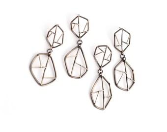 Mismatched Earrings, Geometric Dangles, Asymmetric Earrings, Sterling Silver Statement Earrings, Oxidized Silver Contemporary Jewelry