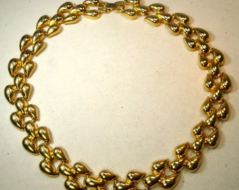 SALE, Shiny Gold Link Necklace, Classic Golden Elegance Around Your Neck 1980s, Very Shiny Gold, Looks UNUSED,  Glamorous Circle Necklace,