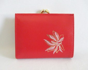 Red Leather Wallet Kiss Clasp Made in Canada by Cambridge Vintage New in Box