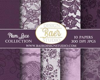 LACE DIGITAL PAPER, Plum Lace Digital Paper, Purple Lace Digital Paper, Wedding Digital Paper, Shabby Chic Digital Paper, #81516