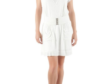 Deep-V Dress White