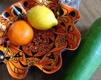 Mandarin Orange Mandala Record Bowl - Psychedelic Geometry for Your Bohemian Kitchen