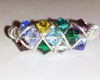 Birthstone Mothers Ring 12 crystals